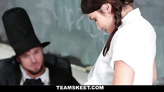 Steaming schoolgirl plays a guess or disrobe game with teacher