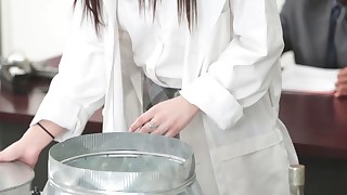 Schoolgirl chemistry with her teacher