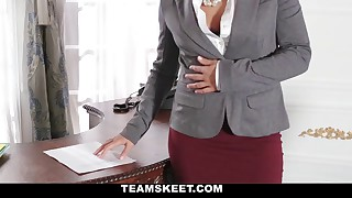 Muddy lezzy teenager secretary gets by her warm chief