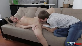 Impressive vaginal creampie with crazy fuckslut