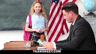 Schoolgirl seducing her wild teacher